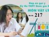 Đáp án đề thi môn Vật lý mã đề 217 tốt nghiệp THPT Quốc gia năm 2021