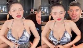 Lương Bằng Quang vội lấy tay che chắn khi Ngân 98 gặp sự cố trang phục trên livestream