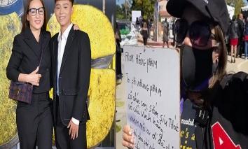 Xuất hiện người lạ trong đám tang ca sĩ Phi Nhung cầm tấm biển với dòng chữ đặc biệt