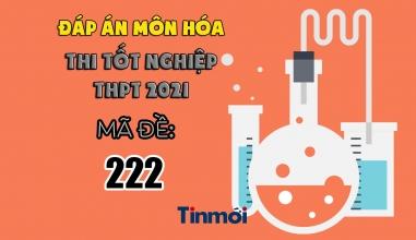 Đáp án môn Hóa học mã đề 222 kì thi THPT Quốc gia 2021