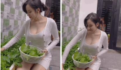 Khoe clip đi hái rau, 'Bà Tưng' khiến dân tình khó rời mắt với vòng 1 tràn viền