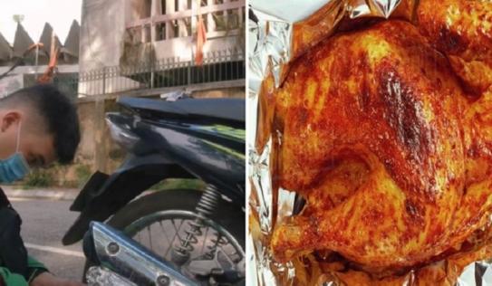 Không chỉ nướng cả con gà, tài xế xe ôm công nghệ còn nấu lẩu chỉ bằng cái ống pô xe máy