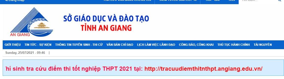 Tra cứu điểm thi tốt nghiệp THPT quốc gia 2021 An Giang chính xác nhất 1