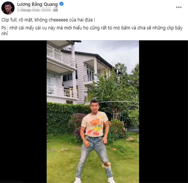 Lương Bằng Quang tự tay đăng clip 'không che' hậu gây xôn xao vì nghi lộ video với Ngân 98 1