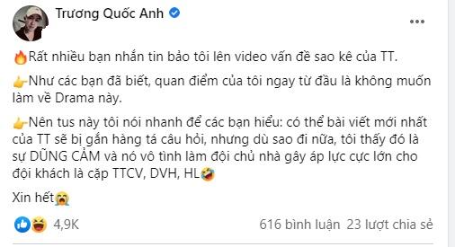 Facebooker Trương Quốc Anh chốt hạ một câu gây tranh cãi về việc sao kê của Trấn Thành 1