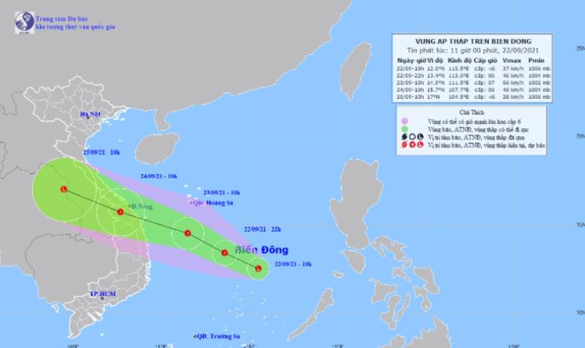 Vùng áp thấp có khả năng mạnh lên thành áp thấp nhiệt đới, di chuyển rất nhanh vào đất liền 1
