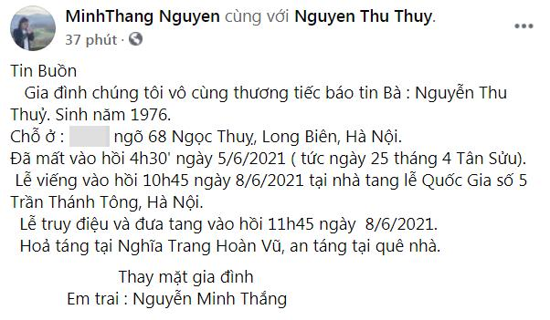 Hoa hậu Việt Nam Nguyễn Thu Thủy đột ngột qua đời ở tuổi 45 1