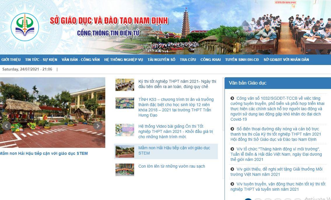 Tra cứu điểm thi tốt nghiệp THPT quốc gia 2021 tỉnh Nam Định 2