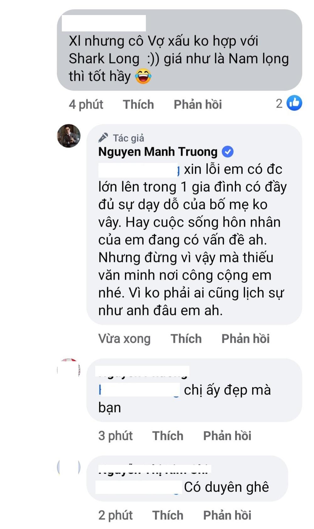 Thái độ của Mạnh Trường khi vợ bị so sánh với Phương Oanh: Khác hẳn với Shark Long 'Hương vị tình thân' 3