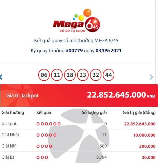 Kết quả Vietlott Mega 6/45 ngày 3/9: Ai là chủ nhân trúng xổ số giải Jackpot gần 23 tỷ đồng? 1