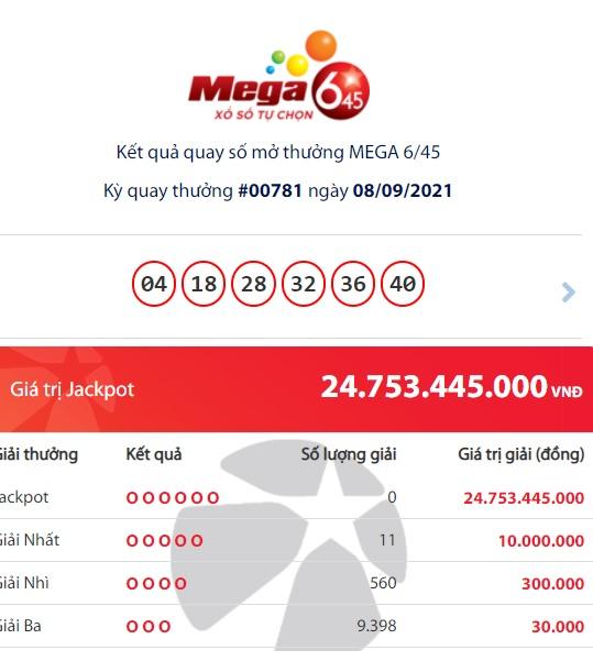 Kết quả Vietlott Mega 6/45 ngày 8/9: Chủ nhân trúng xổ số giải Jackpot gần 25 tỷ đồng là ai? 1