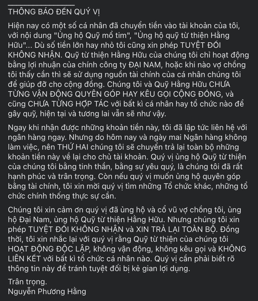 Bà Phương Hằng thẳng thừng từ chối số tiền 'bất thường' được chuyển vào tài khoản với nội dung 'Ủng hộ quỹ mổ tim' 1