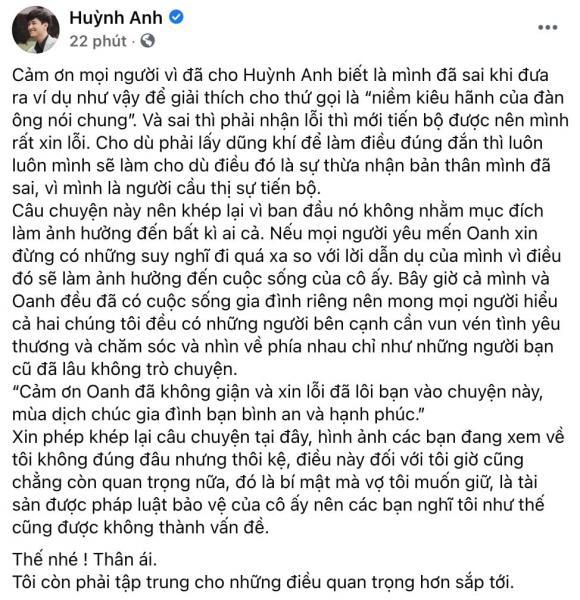 Huỳnh Anh lên tiếng xin lỗi và nhắn nhủ đến tình cũ Hoàng Oanh sau phát ngôn 'kém duyên' 2