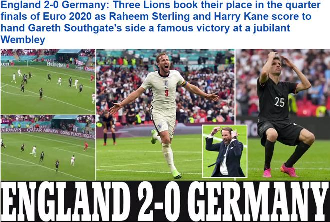 Anh hạ Đức để vào tứ kết Euro 2020: Người hùng Sterling - Kane được báo nhà hết lời ca ngợi