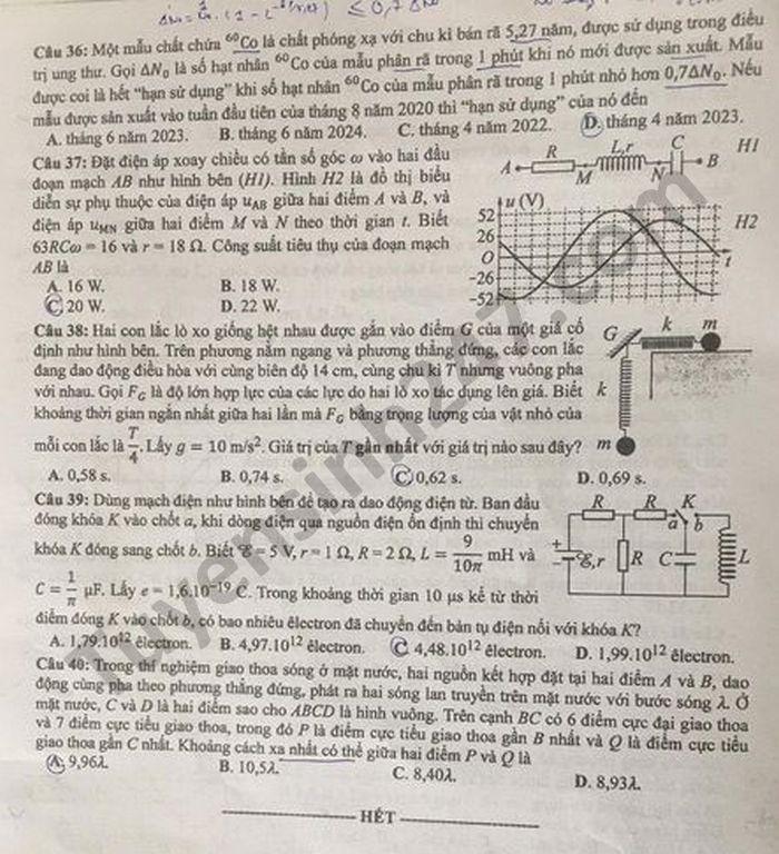 Đáp án đề thi môn Vật lý mã đề 217 tốt nghiệp THPT Quốc gia năm 2021 5