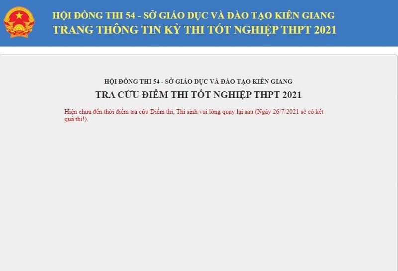 Tra cứu điểm thi tốt nghiệp THPT Quốc gia 2021 tỉnh Kiên Giang 2