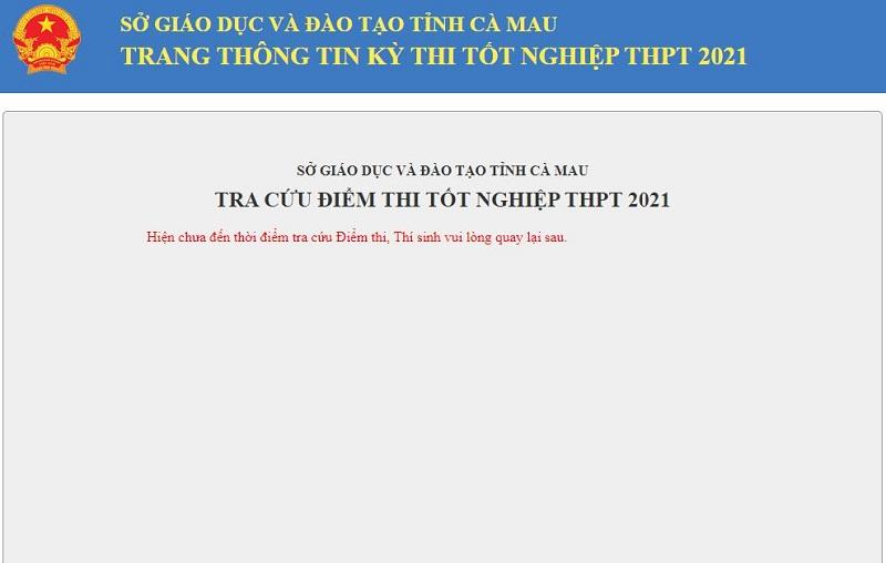 Tra cứu điểm thi tốt nghiệp THPT Quốc gia 2021 TP. Cà Mau theo SBD nhanh nhất 2
