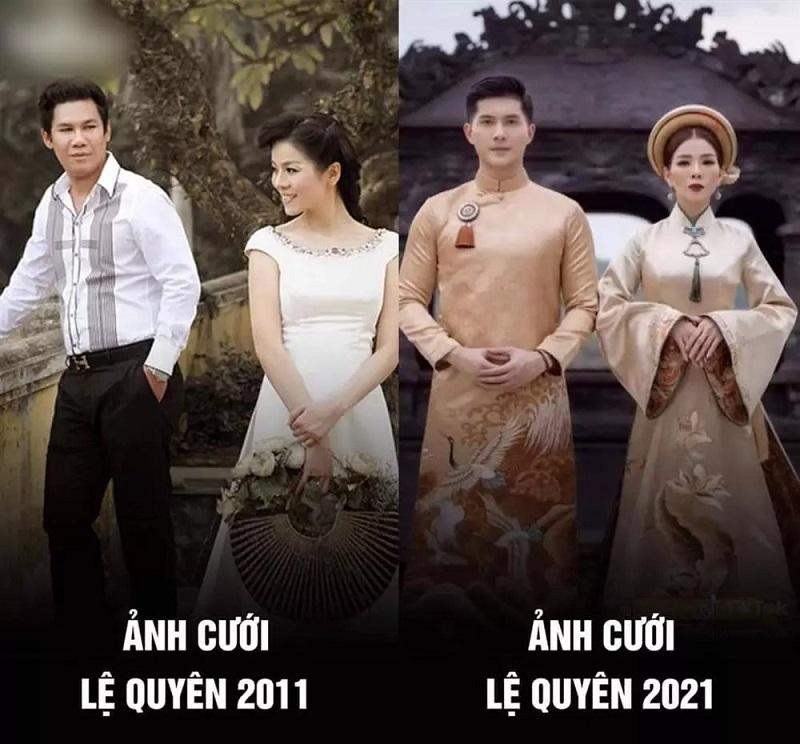 Nhan sắc của Lệ Quyên biến hóa qua 2 bộ ảnh 'cưới' với 2 người đàn ông 1