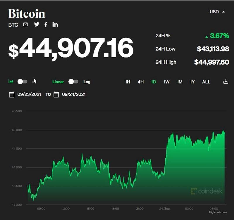 Giá bitcoin hôm nay 24/9: Tiếp đà tăng trưởng, bitcoin vượt ngưỡng 44.000 USD 1