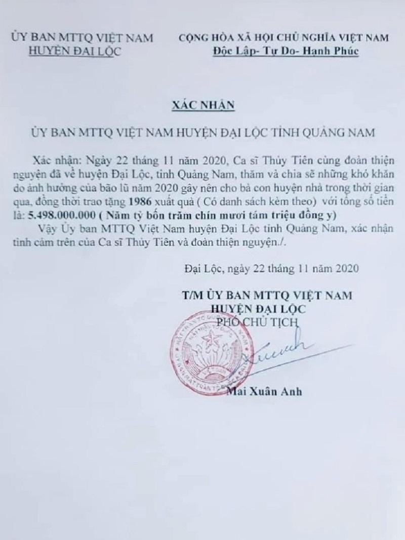 Thêm một tỉnh thành gây áp lực cho Thủy Tiên khi tung bằng chứng nhận tiền cứu trợ 3