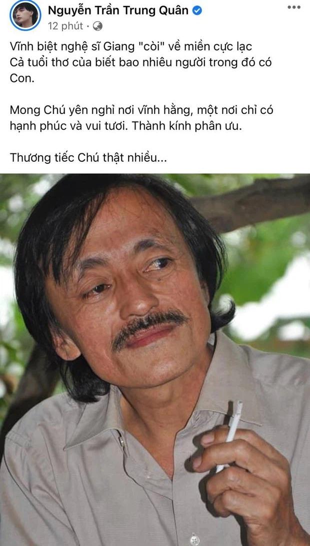 Nghệ sĩ Trà My đau xót báo tin buồn; Tự Long, Thảo Vân và loạt sao Việt nghẹn ngào nói lời tiễn biệt NS Giang Còi 4