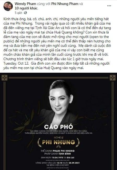 Trước thềm tang lễ Phi Nhung, Wendy Phạm đưa ra thông báo bất ngờ khiến bao người rơi lệ 2