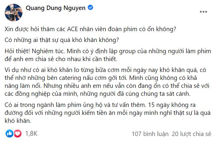 Nguyễn Quang Dũng khởi xướng kêu gọi giúp đỡ anh em ngành điện ảnh 1