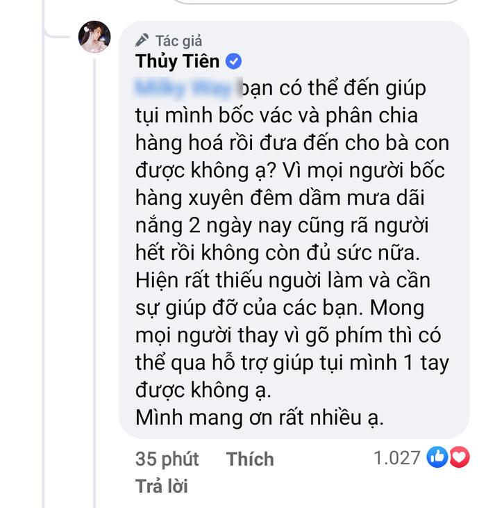 Thủy Tiên nói anti bớt 'gõ phím' khi bị tố nhận vơ trăm tấn lương thực tiếp tế TP.HCM 4