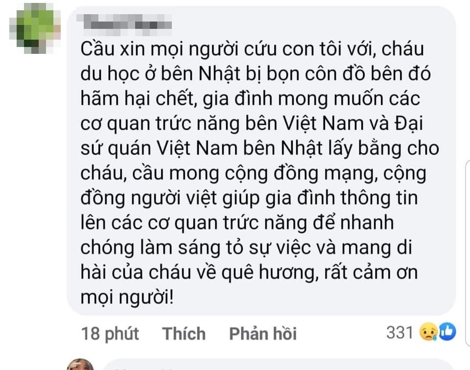 Nam thanh niên người Việt nghi bị hành hung tại Nhật Bản: Bạn bè đau xót, người mẹ cầu cứu đòi sự công bằng 5