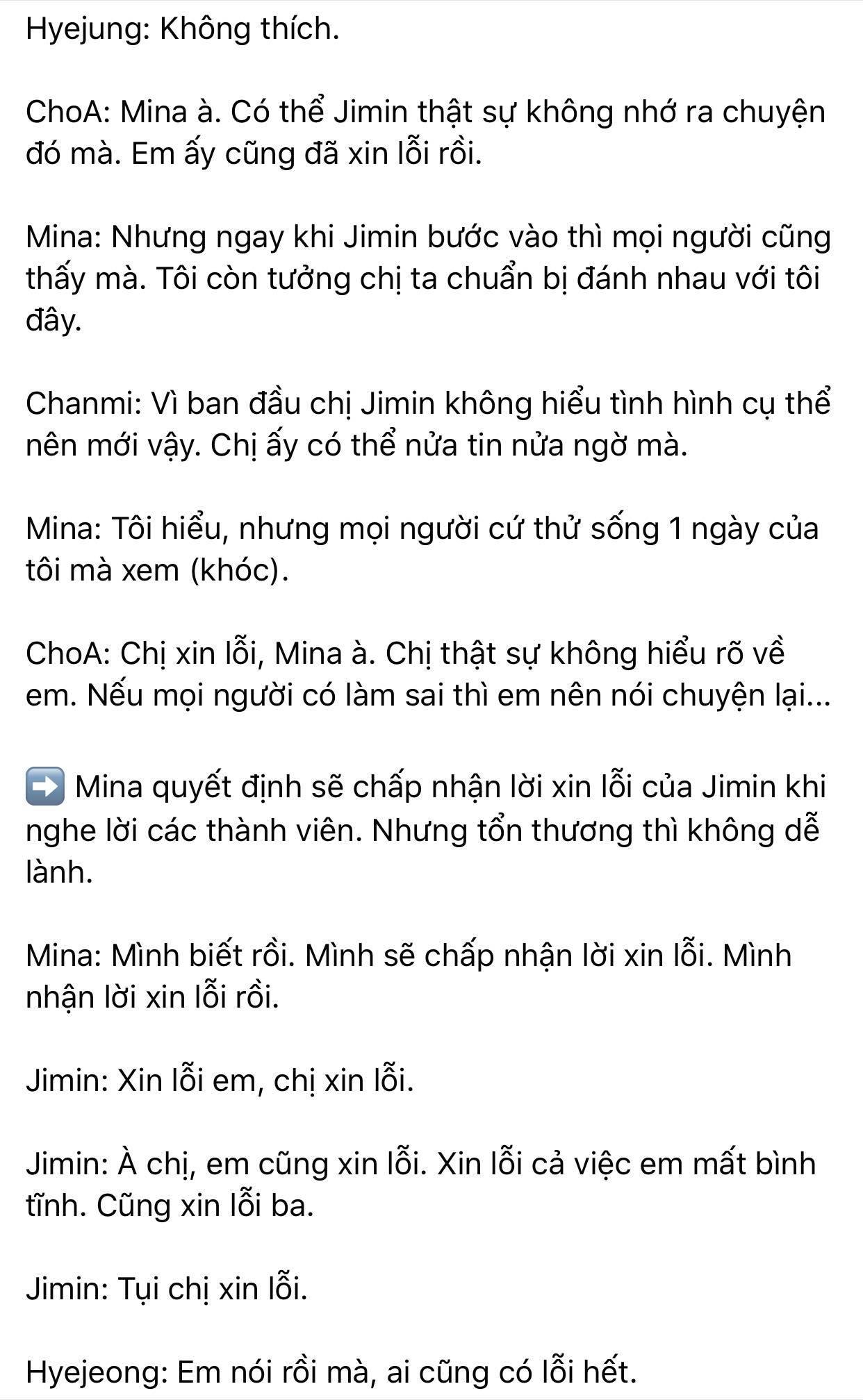 Dispatch khui toàn bộ hội thoại trong buổi gặp mặt AOA: Mina trở thành kẻ cố chấp thích đóng vai nạn nhân 12