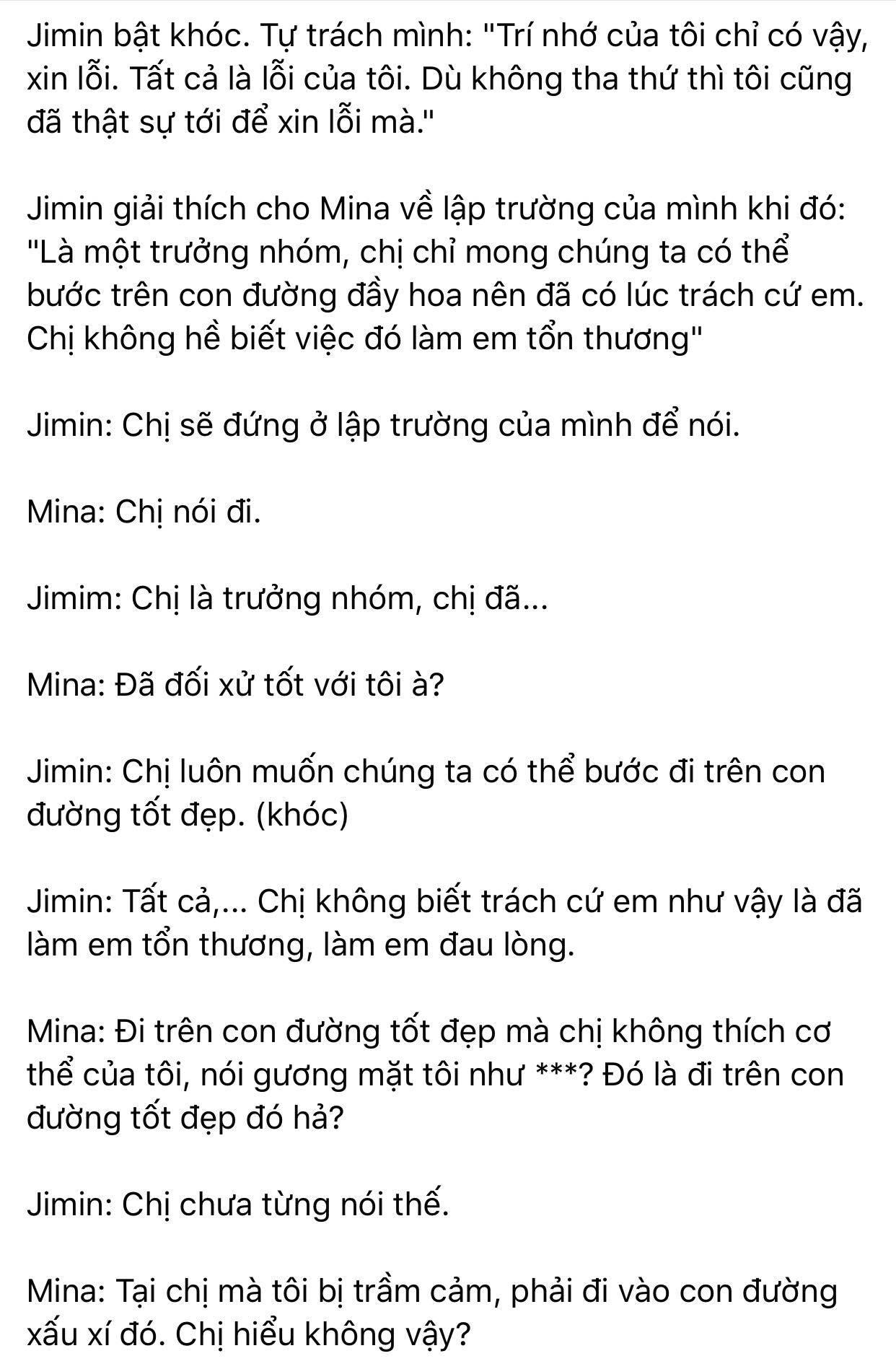 Dispatch khui toàn bộ hội thoại trong buổi gặp mặt AOA: Mina trở thành kẻ cố chấp thích đóng vai nạn nhân 6