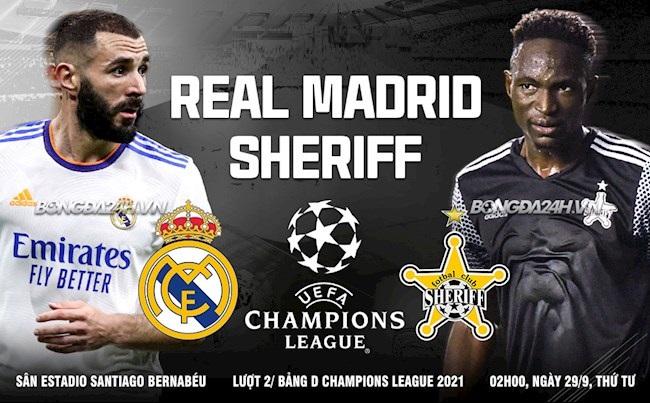 Link xem trực tiếp bóng đá Real Madrid vs Sheriff (2h00, 29/9) Lượt 2 vòng bảng Champions League 1