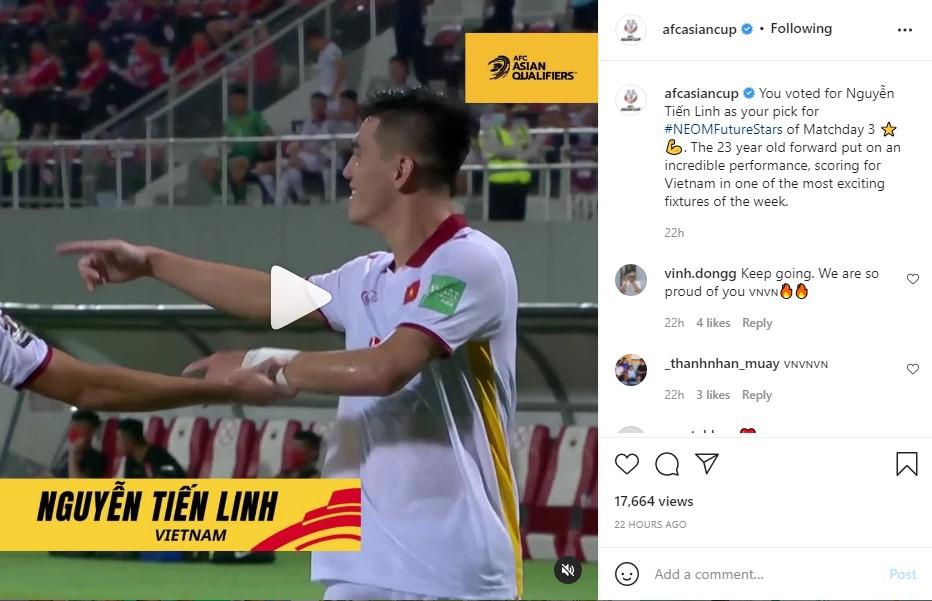 Tiến Linh vượt mặt 'sát thủ' Trung Quốc, được AFC vinh danh ngay trước trận gặp Oman 2