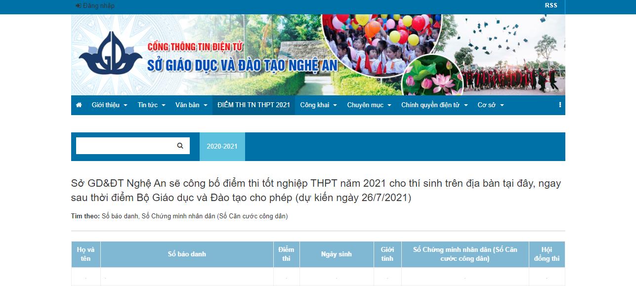 Tra cứu điểm thi THPT quốc gia 2021 tỉnh Nghệ An theo SBD, nhanh chính xác 1