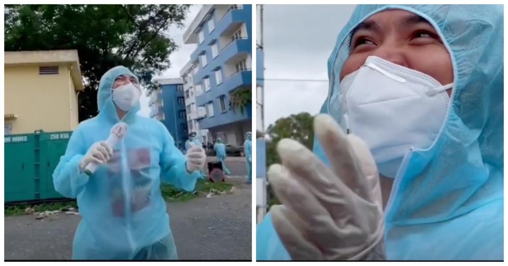 Nghẹn đắng hình ảnh sao Việt đứng dưới trời mưa hát tặng bệnh nhân cách ly: Liều thuốc tinh thần vô giá 2