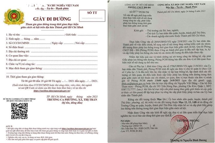 TP. Hồ Chí Minh đổi giấy đi đường mẫu mới từ 0h ngày 25/8 1